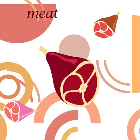 Whole foot fresh meat. Image for farm shop concept. Vector background.