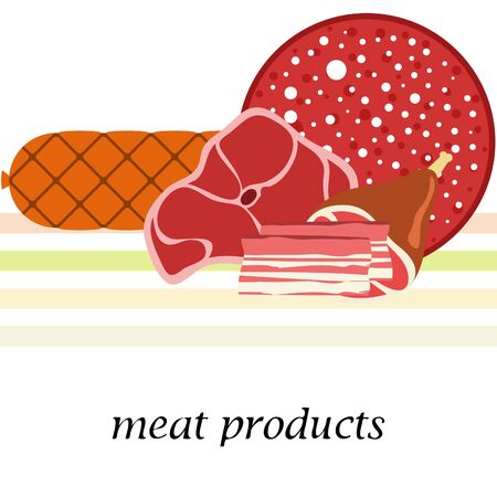 Fresh meat products. Bacon steak whole leg sausage. Meat icons. Vector image. Иллюстрация