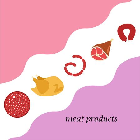 The concept of farming meat products. Chicken whole leg sausage. Meat icons. Vector image. 向量圖像