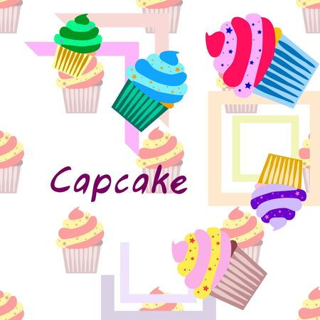 Capcake baking cream berry sweetness dessert. Colorful elements for the menu collection of cafes and restaurants. merry holiday