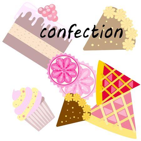 Confectie vector set. Taarten en koekjes illustratie.