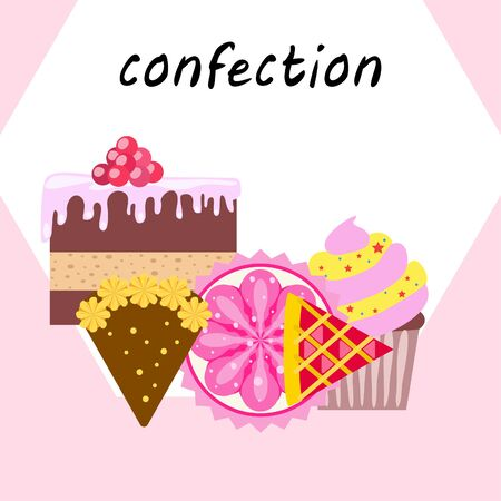 Confection vector set. Cakes and cookies illustration.