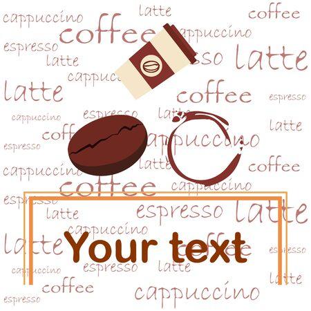 Taza de café, granos de café, café derramado. Concepto de desayuno. Menú de bebidas para restaurante, fondo de vector.