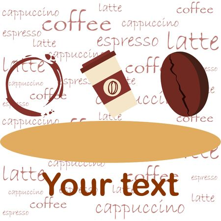 Coffee cup, coffee grains, spilled coffee. Breakfast concept. Drinks menu for restaurant, vector background. Stock fotó - 134863533