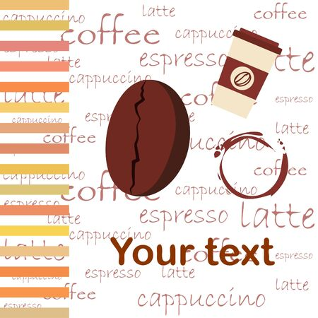 Coffee cup, coffee grains, spilled coffee. Breakfast concept. Drinks menu for restaurant, vector background. Stock fotó - 134863534