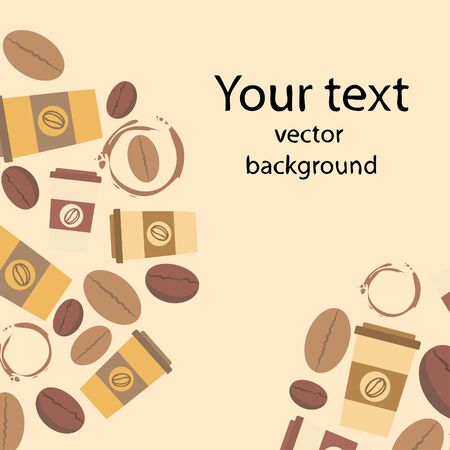 Coffee cup, coffee grains, spilled coffee. Breakfast concept. Drinks menu for restaurant, vector background. Stock fotó - 134863537