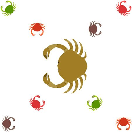 Crabs. Seafood. Vector illustration of a sea animal. 矢量图像