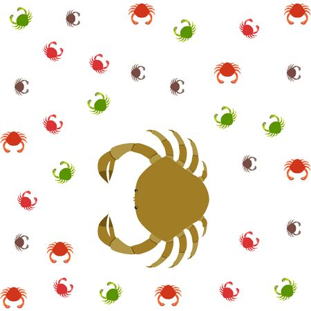 Crabs. Seafood. Vector illustration of a sea animal.