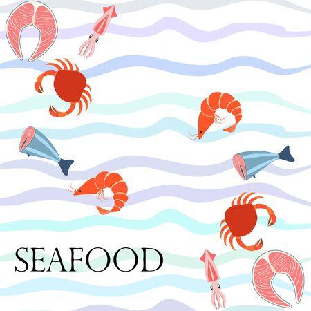 Fish shrimp crab squid.Vector seafood. Food and restaurant design.