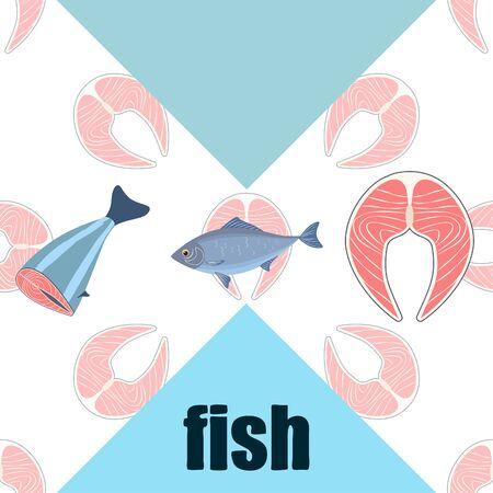 Fish seafood. Vector seafood. Food and restaurant design. Illustration