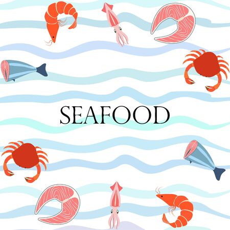 Fish shrimp crab squid.Vector seafood. Food and restaurant design.