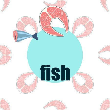 Fish seafood. Vector seafood. Food and restaurant design. Illustration