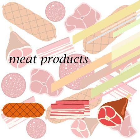 Sausage, steak, whole foot, bacon, fresh meat. Image for farm shop concept. Vector background.