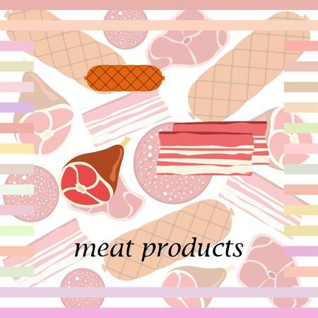 Sausage, steak, whole foot, bacon, fresh meat. Image for farm shop concept. Vector background.