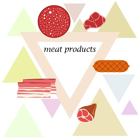 Fresh meat products. Bacon steak whole leg sausage. Meat icons. Vector image. Illusztráció