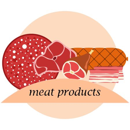 Fresh meat products. Bacon steak whole leg sausage. Meat icons. Vector image. Illusztráció