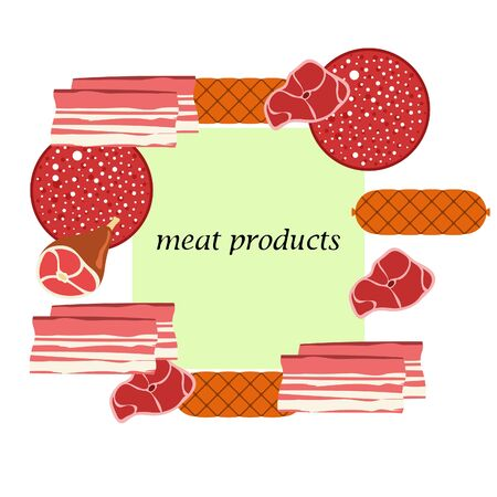 Fresh meat products. Bacon steak whole leg sausage. Meat icons. Vector image.