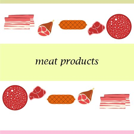 Fresh meat products. Bacon steak whole leg sausage. Meat icons. Vector image. Illustration