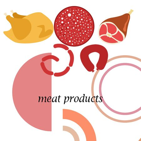 The concept of farming meat products. Chicken, whole leg, sausage. Meat icons. Vector image.