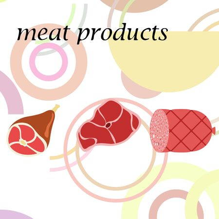 Whole foot, fresh meat. Image for farm shop concept. Vector background.