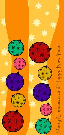New Year greeting card design with stylized christmas ball and christmas tree. Vector illustration.