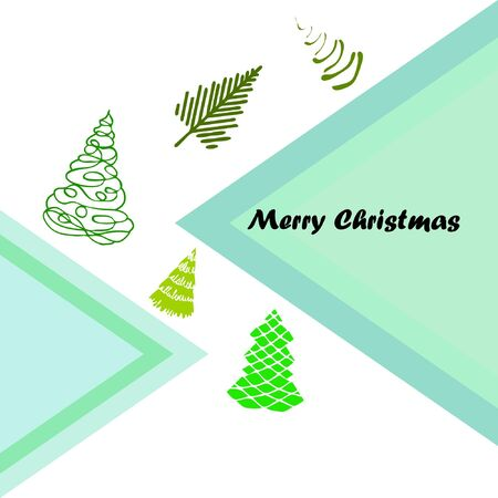 Merry christmas and happy new year tree, holiday decoration card design. EPS10 vector.
