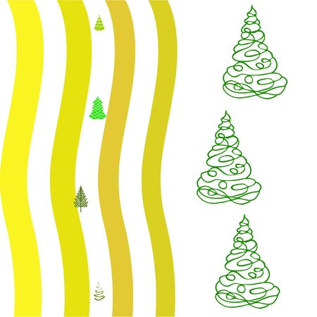 Merry christmas and happy new year tree, holiday decoration card design.