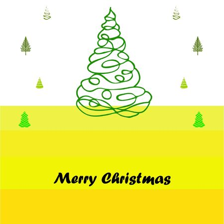 Merry christmas and happy new year tree, holiday decoration card design. EPS10 vector