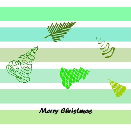 Merry christmas and happy new year tree, holiday decoration card design. Vetores