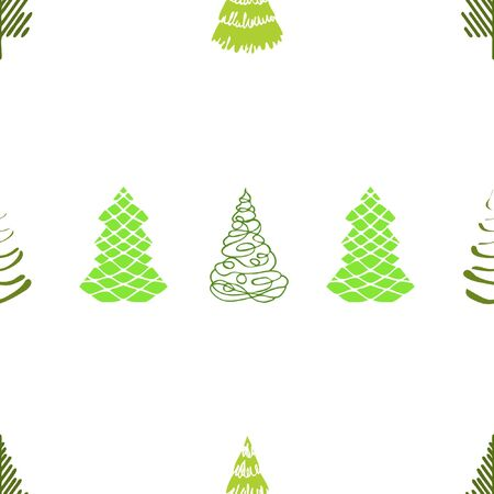 Vector merry Christmas and happy New Year design. Horizontal card with Christmas trees in black, gold and white colors