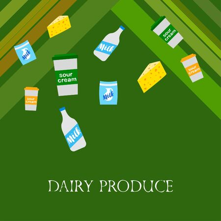 Vector illustration of a set of labels for milk and dairy