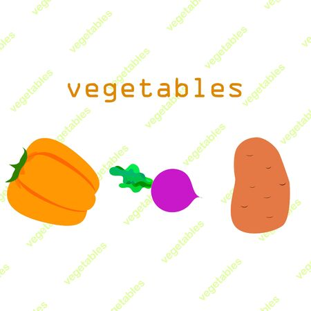 Fresh vegetables. Peppers, beets, potatoes. Organic food poster. Farmers market design. Vector. 矢量图像