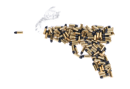 Gun made of ammo isolated against white background Stock Photo