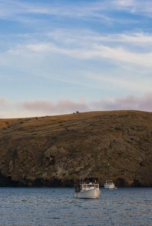 Dusk panorama at Santa Cruz Island as seen from a boat. Santa Cruz, Channel Islands, California Reklamní fotografie