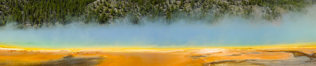 Grand Prismatic Spring panorama in Midway Geyser Basin, Yellowstone National Park, Wyoming