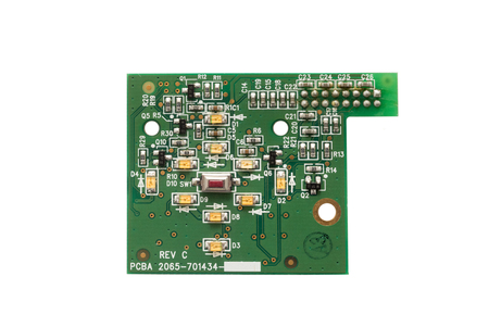 Circuit board isolated against white background
