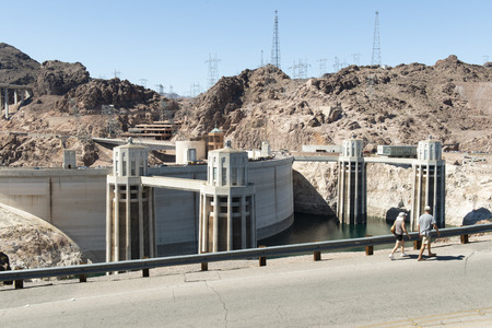 Boulder City, Nevada, USA - March 25, 2013: Hoover Dam, the largest reservoir in the United States by volume. Editorial