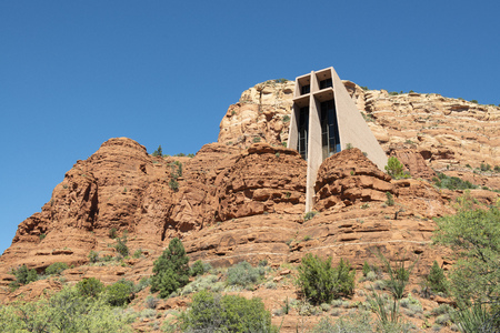 Sedona, Arizona, USA - March 24, 2013: Chapel of the Holy Cross in built into the red-rock buttes Stock Photo - 116748664