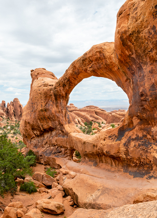 Double-O Arch in Devils Garden Trail in Arches National Park, Utah
