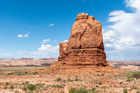 Sandstone formations in the entrance of Arches National Park, Utah