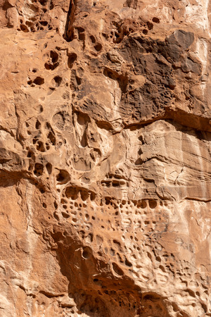 Tafoni (honeycomb) features in Fiery Furnace in Arches National Park, Utah
