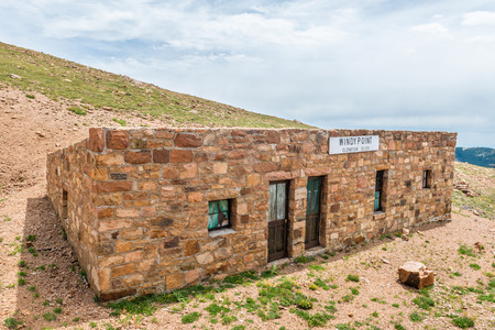 Windy Point building on Pikes Peak in Pike National Forest, Colorado Stock Photo