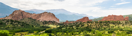 Panorama view of Garden of the Gods, Colorado Stock Photo
