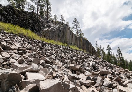 Hexagon basaltic columns of Devils Postpile National Monument in Inyo National Forest, Ansel Adams Wilderness