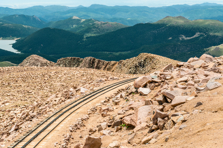 Cog railway track on Pikes Peak in Pike National Forest, Colorado