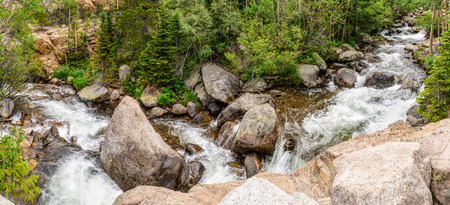 Panorama from Glacier Creek Trail to Alberta Falls in Rocky Mountain National Park, Colorado