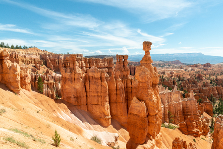 View of hoodoos including Thor's Hammer from Navajo Loop in Bryce Canyon National Park, Utah