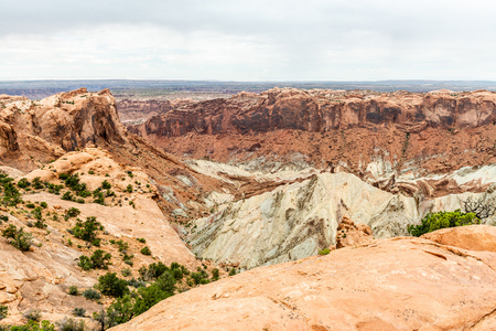 Overlook of Upheaval Dome in Canyonlands National Park, Utah Stock Photo