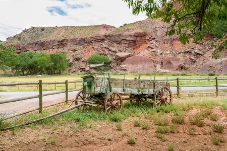 Antique wagon cart in Fruita, Capitol Reef National Park, Utah Stock Photo