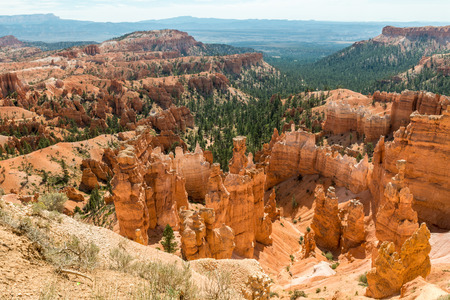 View of Bryce Amphitheater from Sunrise Point of Bryce Canyon National Park, Utah Stock Photo